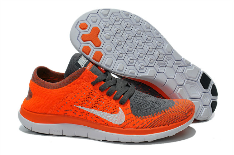 Nike Free Run 4.0 Flyknit Orange Grey White Running Shoes