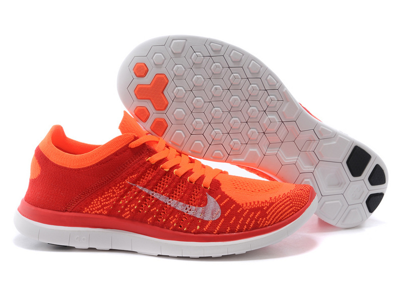 Nike Free Run 4.0 Flyknit Orange White Running Shoes