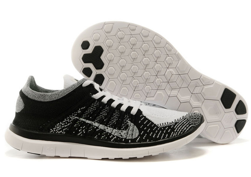 Nike Free Run 4.0 Flyknit White Black Running Shoes