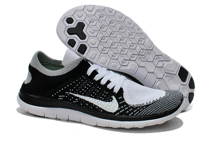 Nike Free Run 4.0 Flyknit White Black White Running Shoes