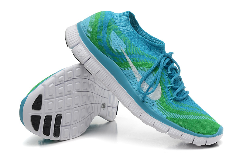 Nike Free Run 5.0 Flyknit Blue Green White Running Shoes