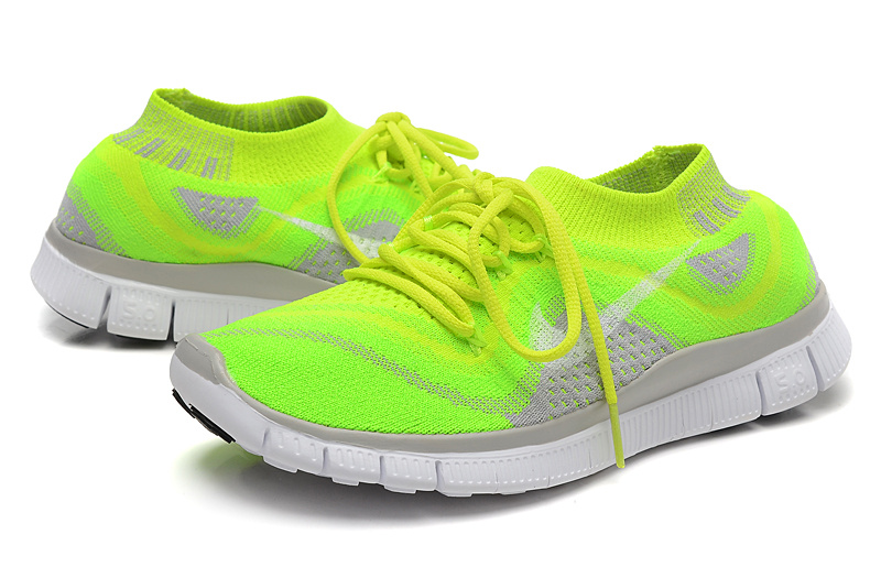 Nike Free Run 5.0 Flyknit Fluorescent Green Grey White Running Shoes