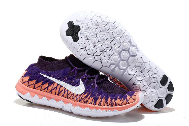 Nike Free Run 5.0 Flyknit Purple Pink White Running Shoes