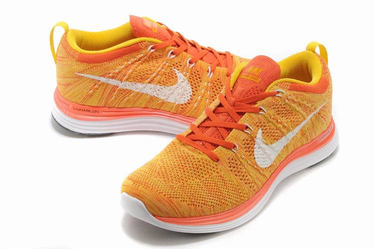 Nike Flyknit Lunar 1 Orange White Shoes