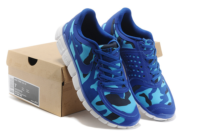 Nike Free Run 5.0 V4 Camouflage Navy Sea Blue Shoes