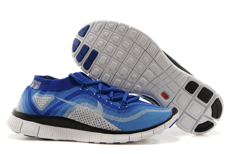 Nike Free Flyknit+ Sea Blue Black White Shoes