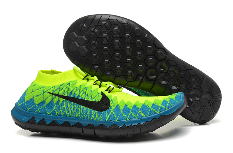 Nike Free Run 3.0 Flyknit Green Blue Black Running Shoes