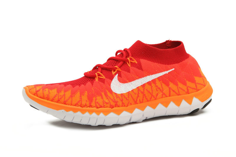 Nike Free Run 3.0 Flyknit Red Orange White Running Shoes