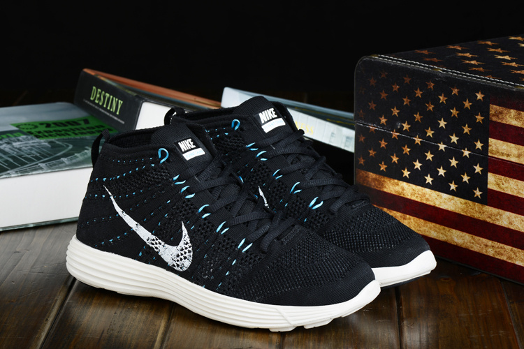 Nike Free Flyknit High Black Blue White Shoes
