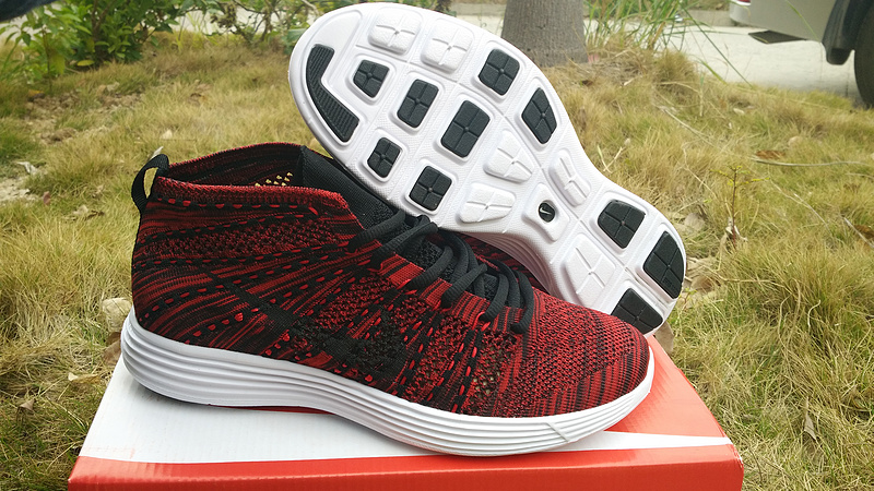 Nike Free Flyknit High Dark Red Black Shoes
