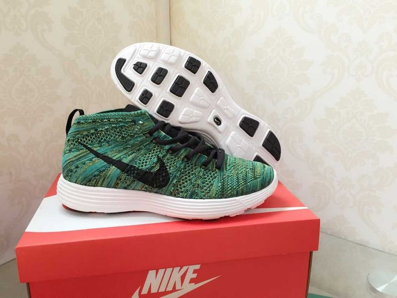 Nike Free Flyknit High Green Black White Shoes