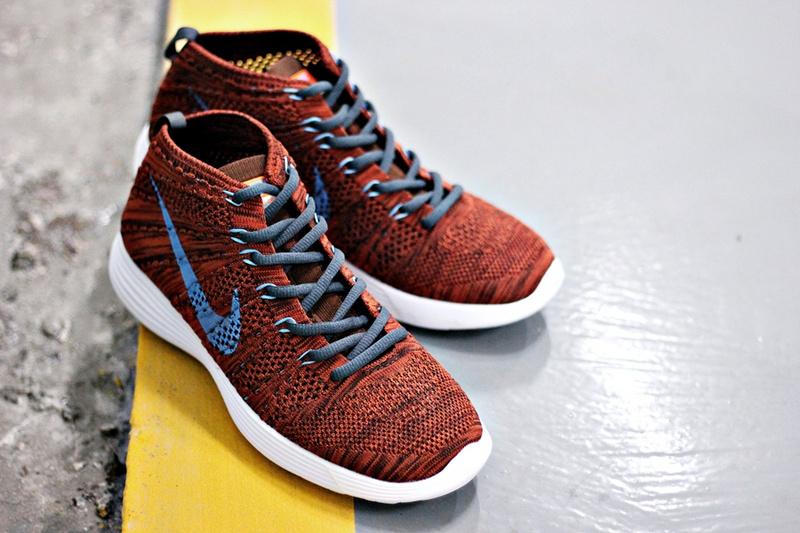 Nike Free Flyknit High Orange Blue White Shoes