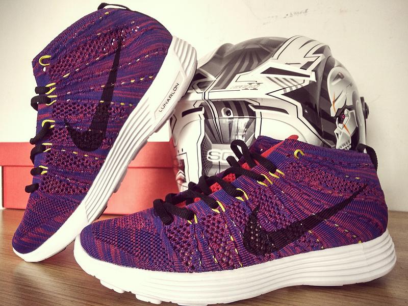 Nike Free Flyknit High Purple Black White Shoes