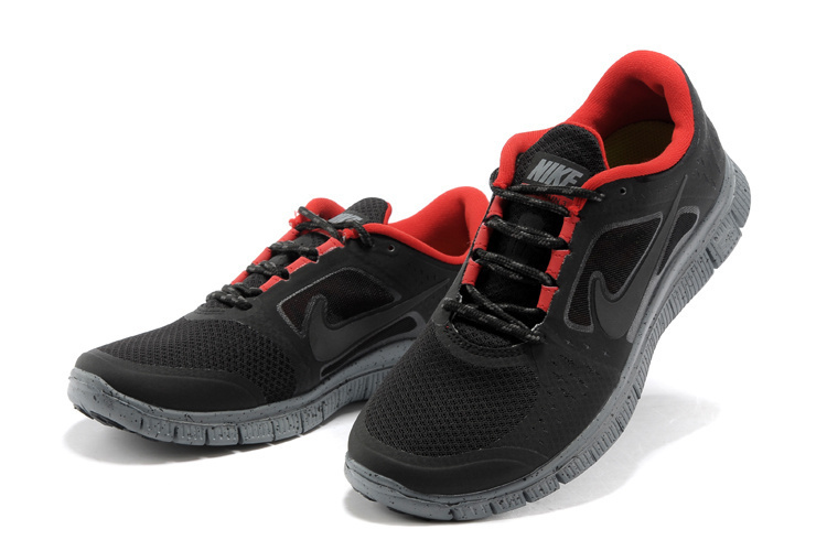 Nike Free Run+ 3 All Black Red Running Shoes