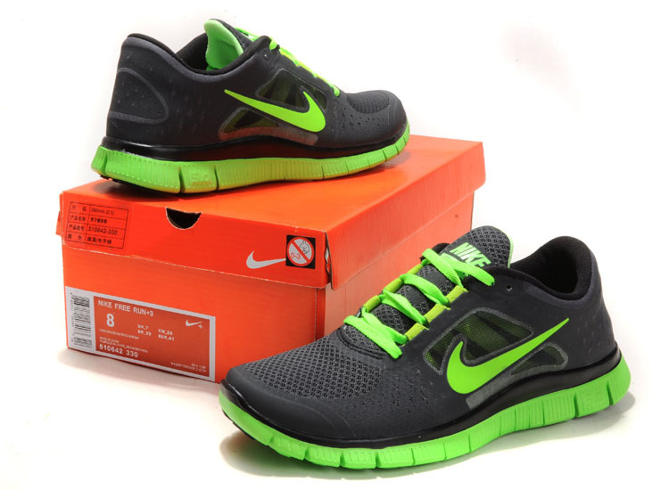 Nike Free Run+ 3 Black Green Running Shoes