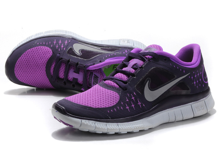 Women Free Run+ 3 Black Purple White Shoes