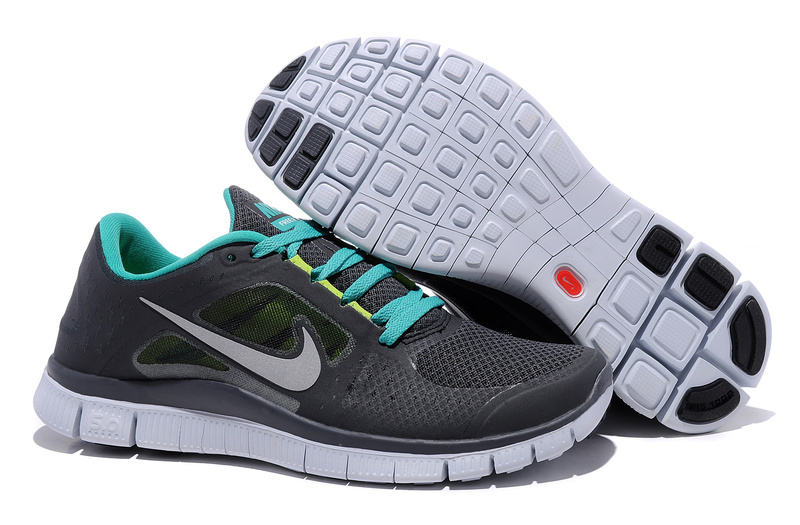 Nike Free Run+ 3 Black White Blue Running Shoes