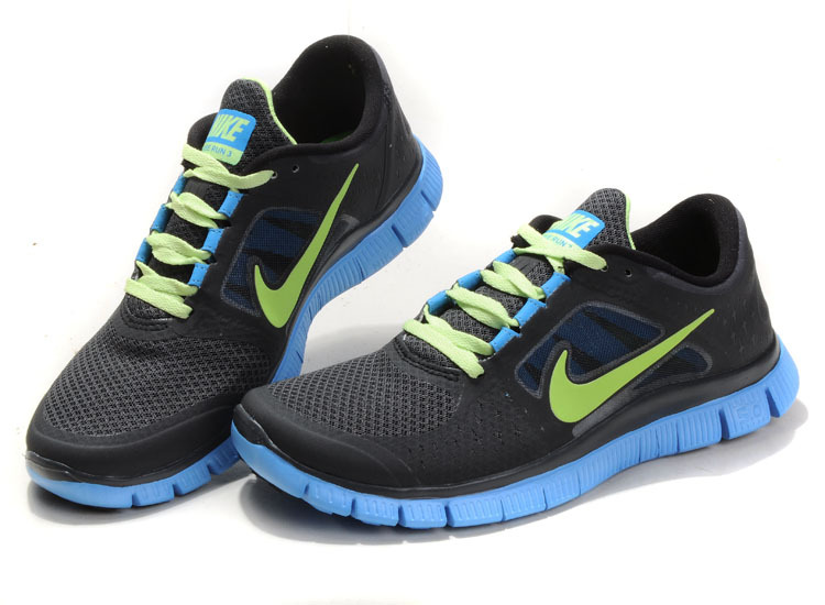 Nike Free Run+ 3 Black Yellow Blue Running Shoes