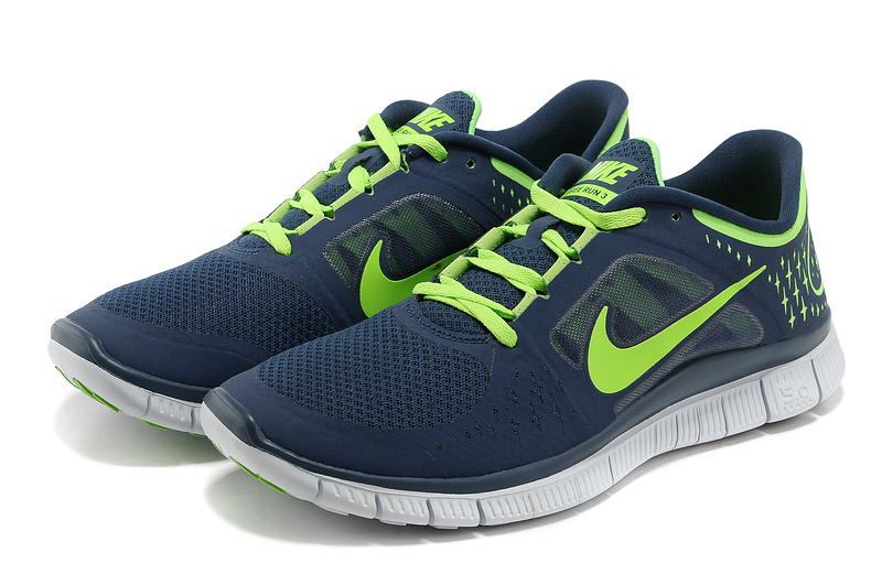 Nike Free Run+ 3 Blue Green White Running Shoes