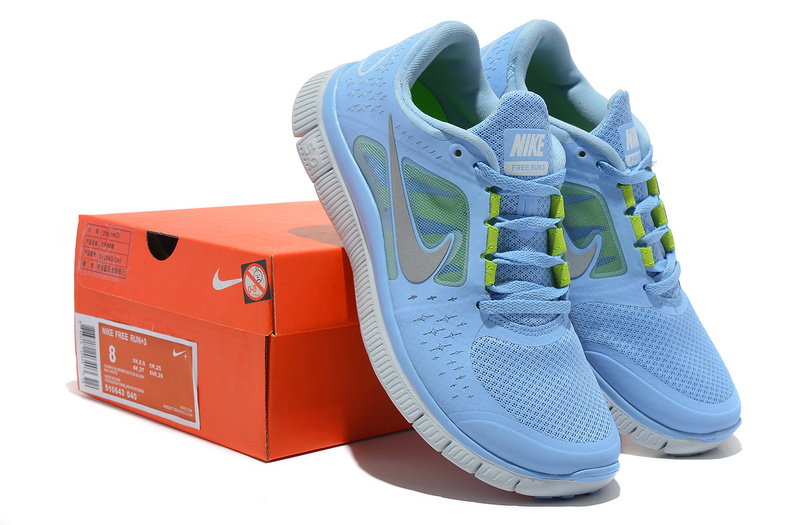 Women Free Run+ 3 Light Blue White Shoes