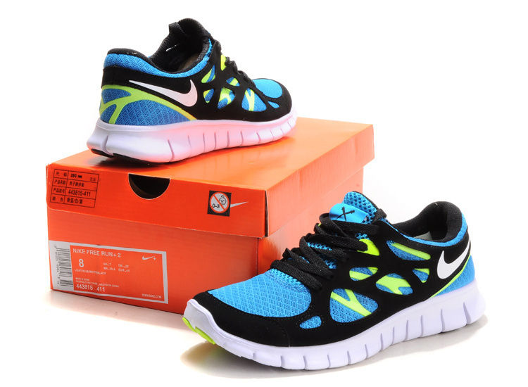 Nike Free Run 2.0 Running Shoes Black Blue White