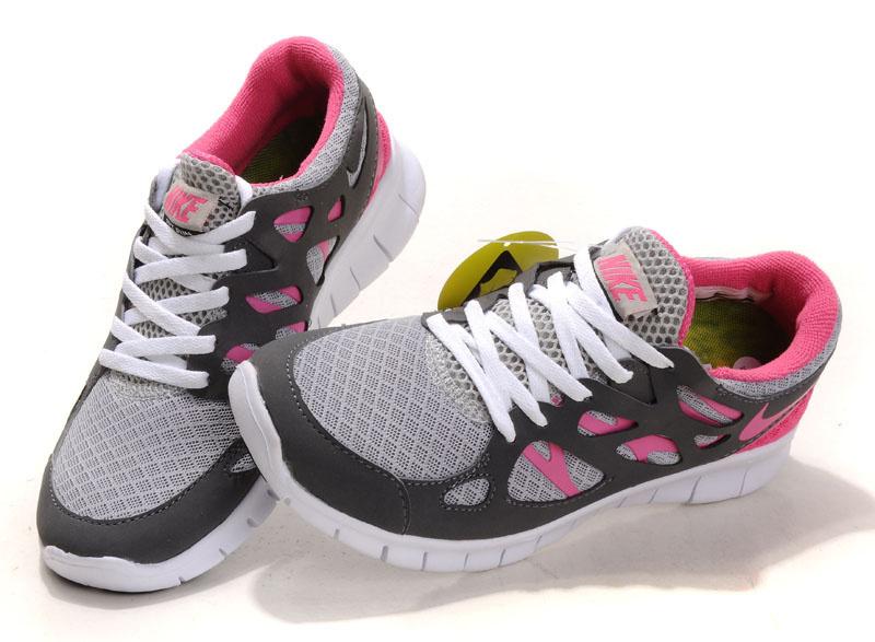 Nike Free Run 2.0 Running Shoes Black Grey Pink White