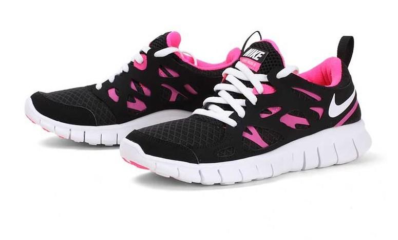 Nike Free Run 2.0 Running Shoes Black Pink White