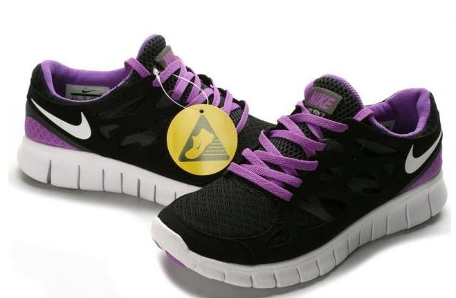 Nike Free Run 2.0 Running Shoes Black Purple White