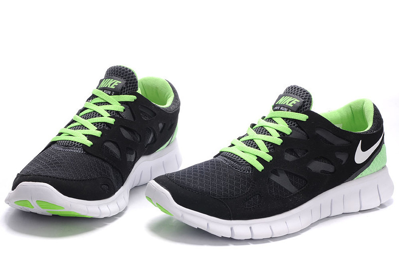 Nike Free Run 2.0 Running Shoes Black White Green