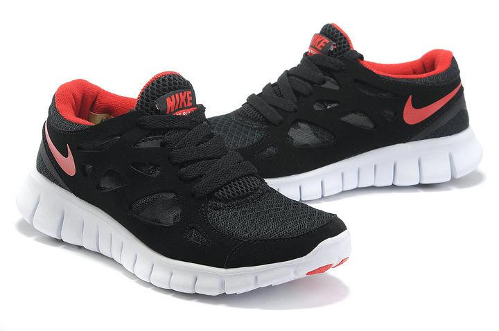 Nike Free Run 2.0 Running Shoes Black White Red