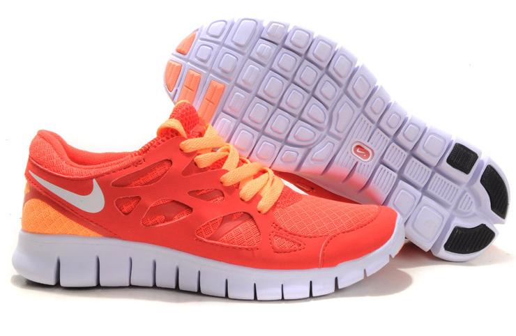 Nike Free Run 2.0 Running Shoes Pink Orange White