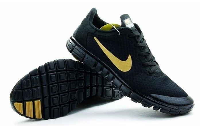 Nike Free Run 3.0 V2 Mesh All Black Gold Shoes