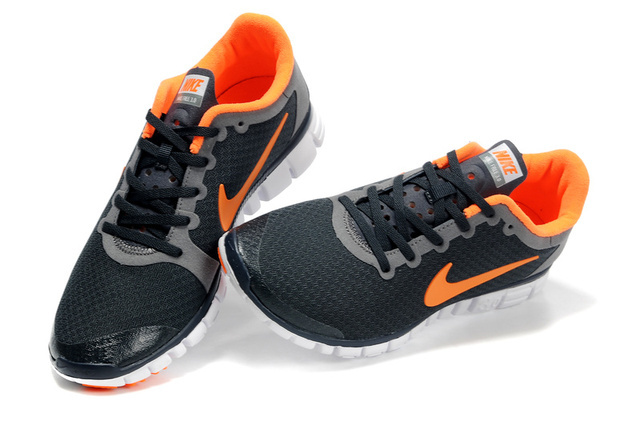 Nike Free Run 3.0 V2 Mesh Black Grey Orange Shoes