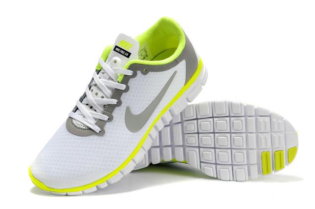 Nike Free Run 3.0 V2 Mesh White Grey Green Shoes