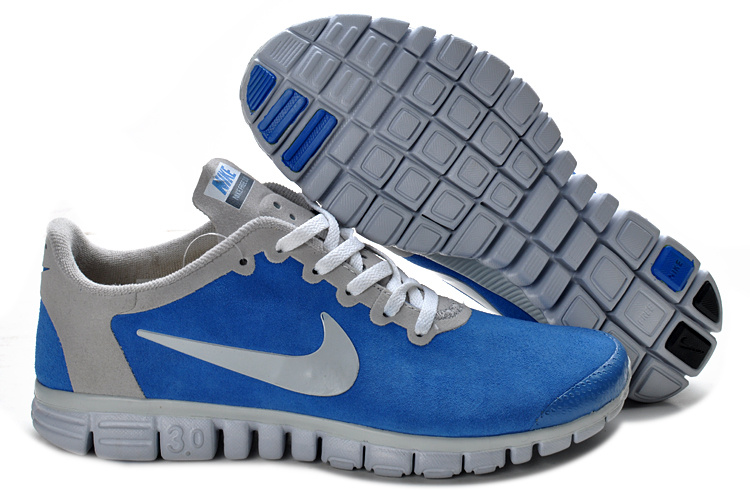 Nike Free Run 3.0 V2 Suede Blue Grey Shoes