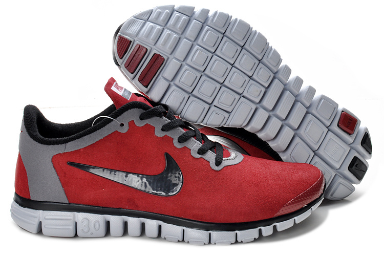 Nike Free Run 3.0 V2 Suede Red Grey Black Shoes