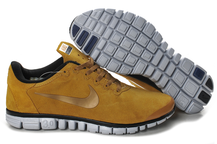 Nike Free Run 3.0 V2 Suede Yellow Brown Black White Shoes