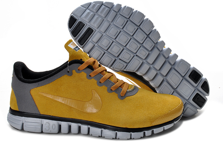 Nike Free Run 3.0 V2 Suede Yellow Grey Shoes