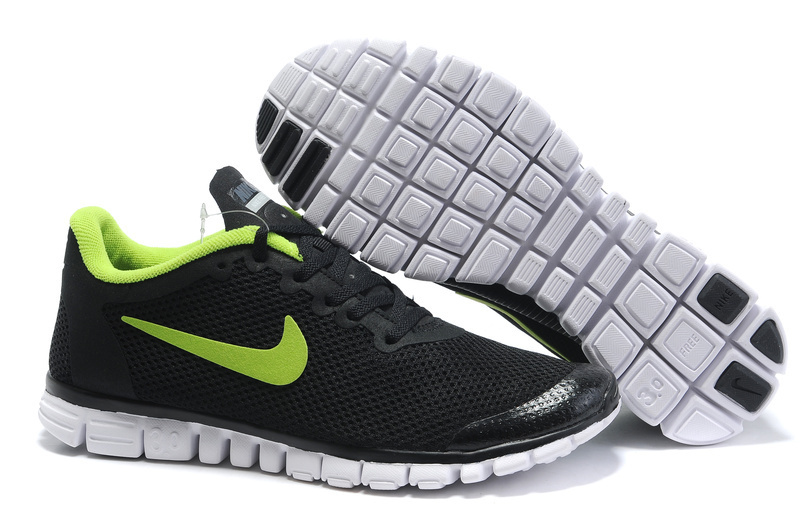 Nike Free Run 3.0 Mesh Black Green White Shoes