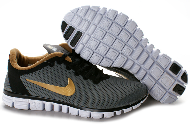 Nike Free Run 3.0 Mesh Grey Black Gold White Shoes