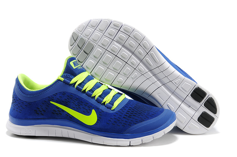 Nike Free Run 3.0 V5 Engrave Blue Yellow White Shoes