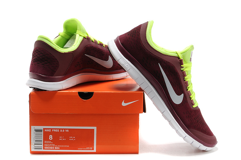 Nike Free Run 3.0 V5 Engrave Dark Red Yellow White Shoes