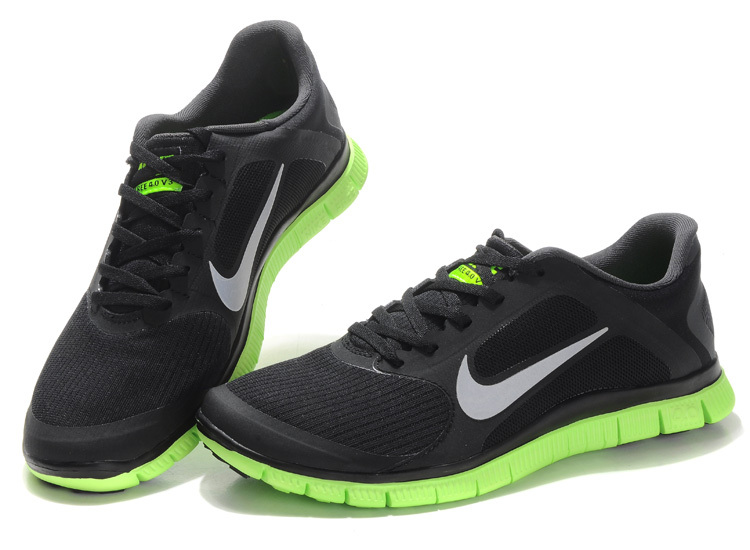 Nike Free 4.0 V2 Black Green White Running Shoes