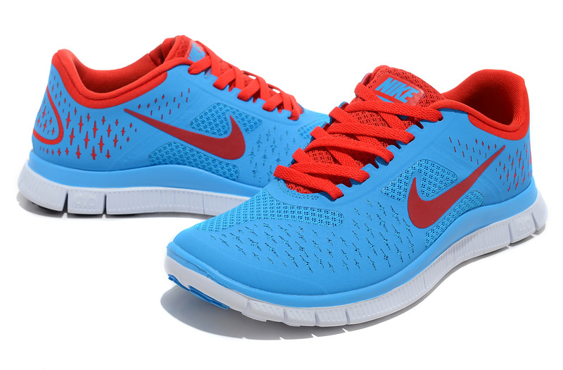 Nike Free 4.0 V2 Blue Red Running Shoes