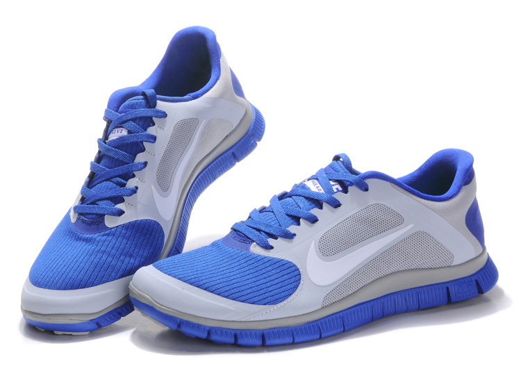 pretty nice a87a8 988a2 Nike Free 4.0 V2 Blue Silver Running Shoes