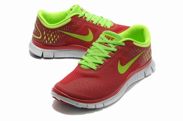 Nike Free Run 4.0 V2 Dark Red Green White Shoes