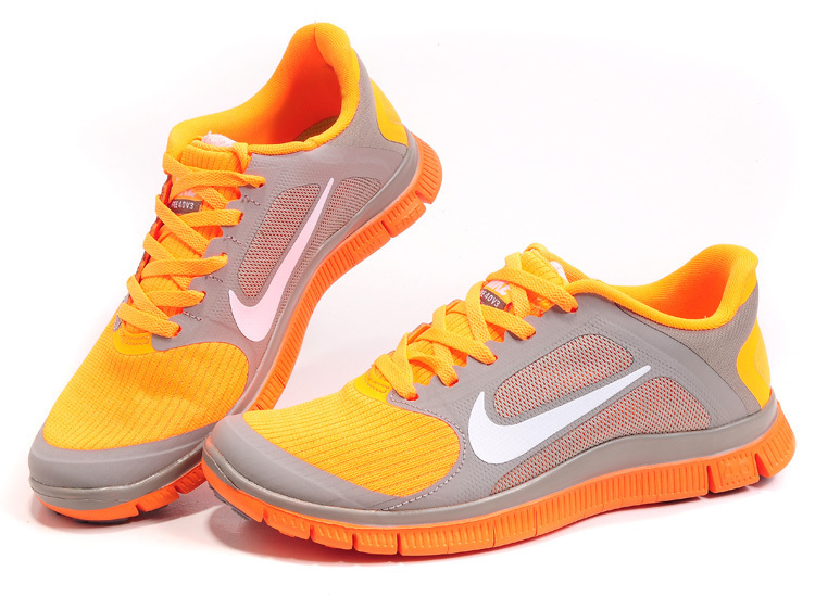 Nike Free 4.0 V2 Orange Grey Running Shoes