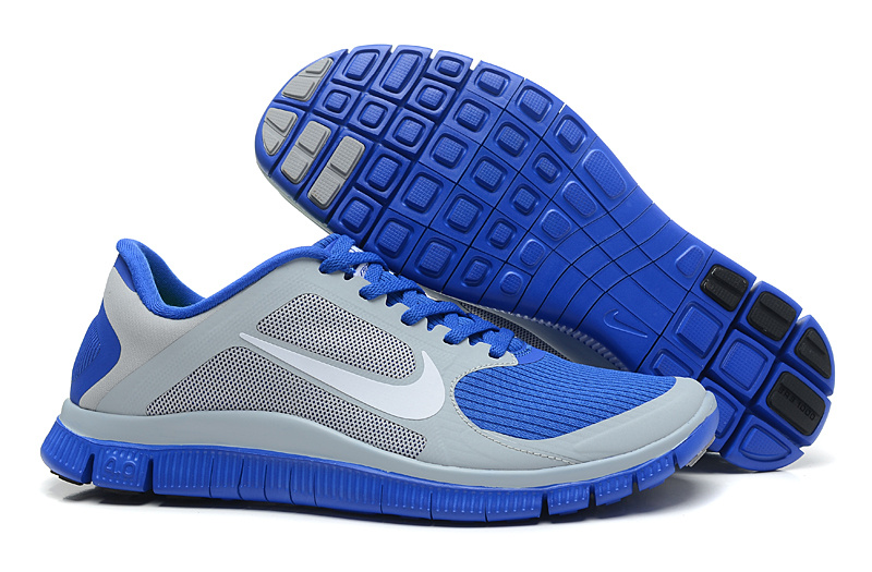 Women Nike 4.0 V3 Running Shoes Blue Grey Silver