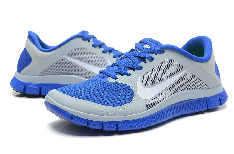 Women Nike 4.0 V3 Running Shoes Blue Grey Silver On Hot Sale