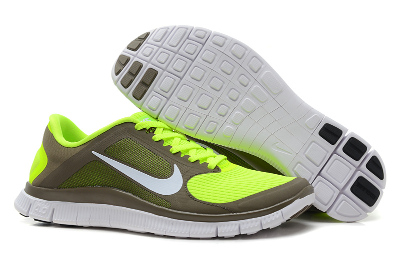 Women Nike 4.0 V3 Running Shoes Yellow Army White